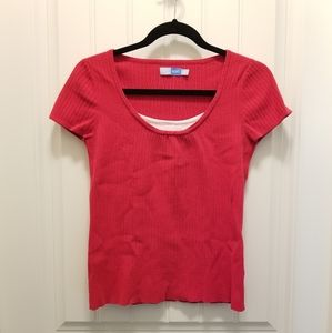 Scoop neck knit tshirt red